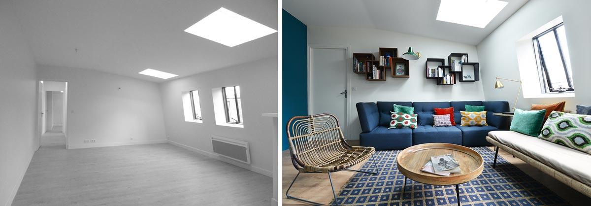 Décoration d'intérieur du salon d'un appartement parisien en photos avant - après