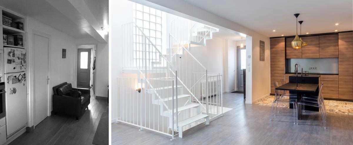 Photo avant aprés d'un projet d'architecture d'intérieur dans une maison de ville de 83 m2