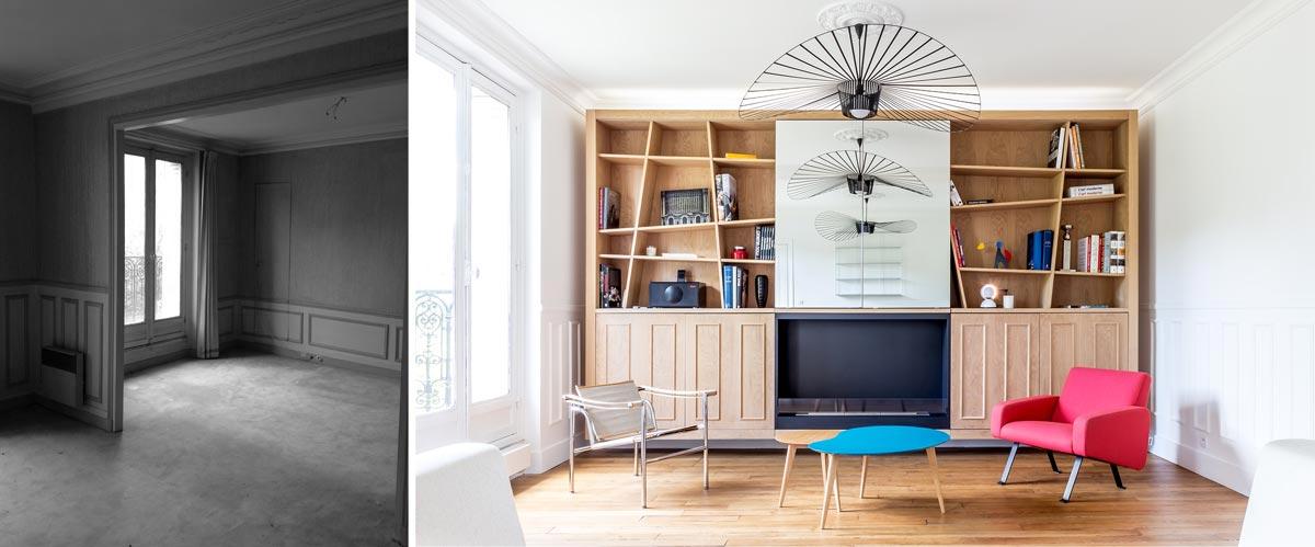 Rénovation d'un salon par un architecte d'intérieur