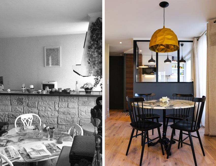 Aménagement intérieur d'une salle à manger dans un appartement 2 pièces