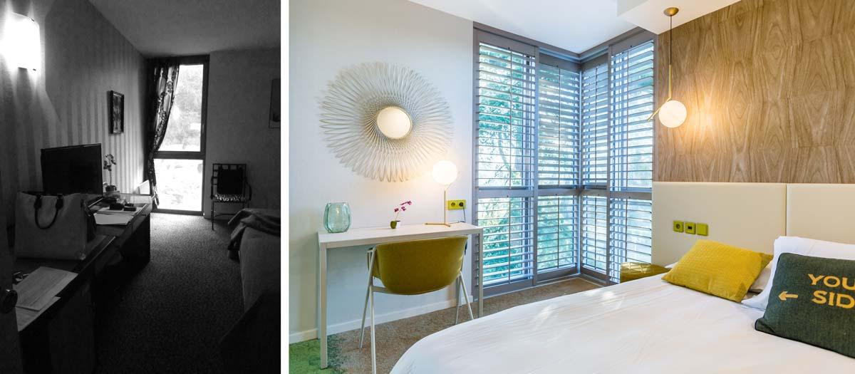 Déco design dans une chambe d'hotel en photos avant - après