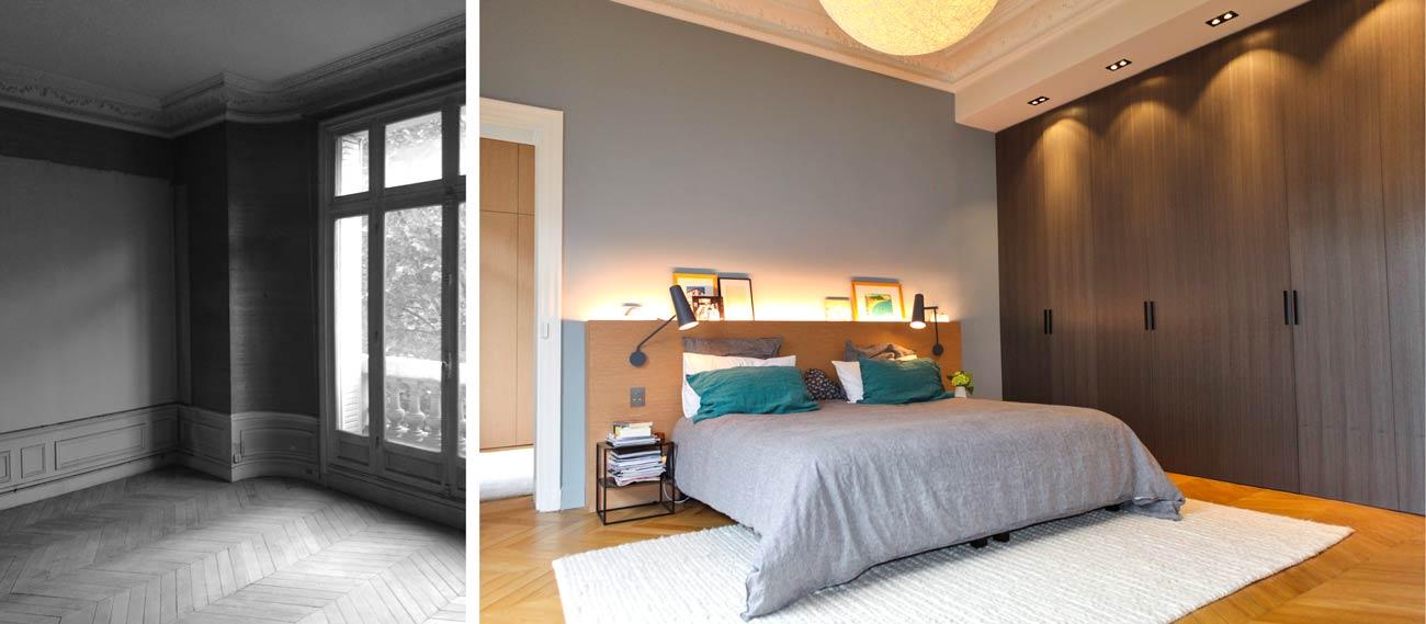Rénovation d'une chambre parentale par un architecte d'intérieur à Paris