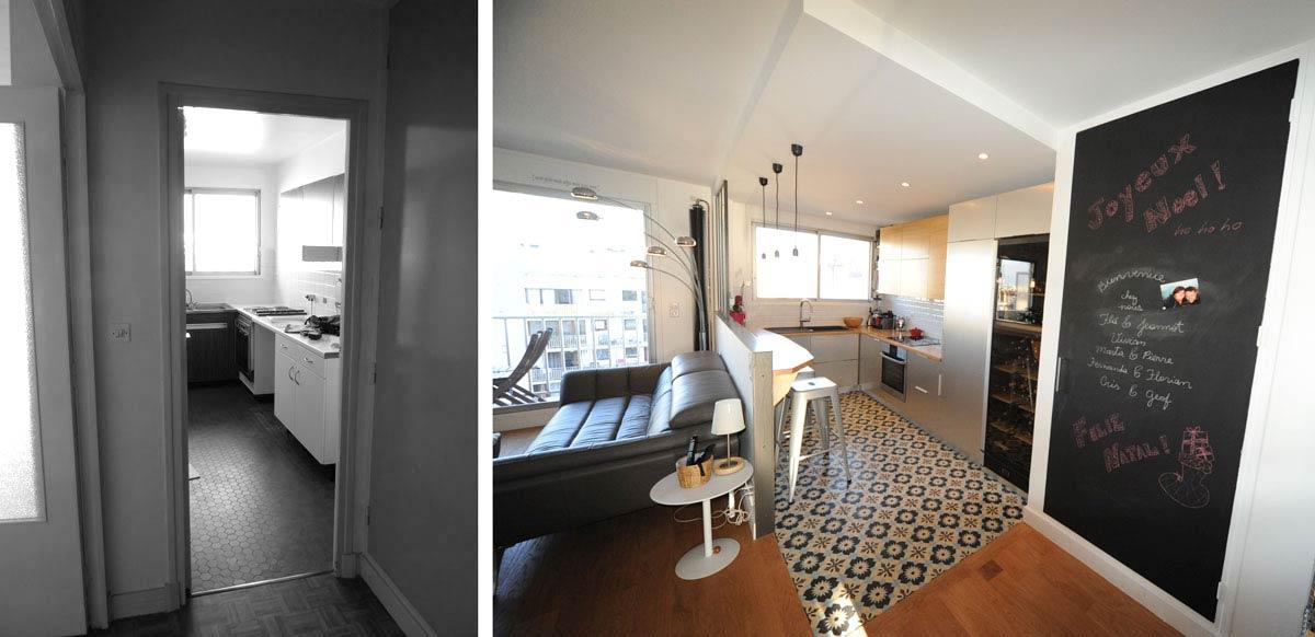 Rénovation d'un appartement avec une cuisine ouverte sur le séjour
