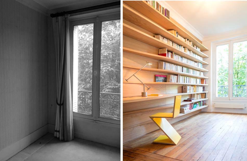 Aménagement d'une bibliothéque par un architecte d'intérieur