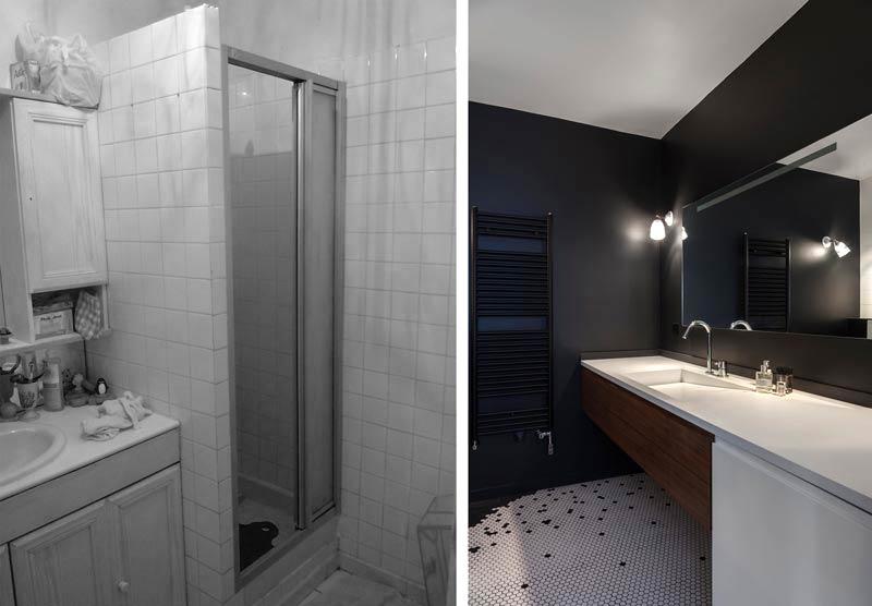 Une architecture d'intérieur rénove une salle de bain dans un appartement