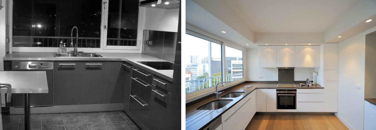 Réalisation d'une cuisine moderne dans un appartement des années 1970