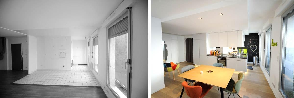 Aménagement d'un appartement contemporain 4 pièces 85m2