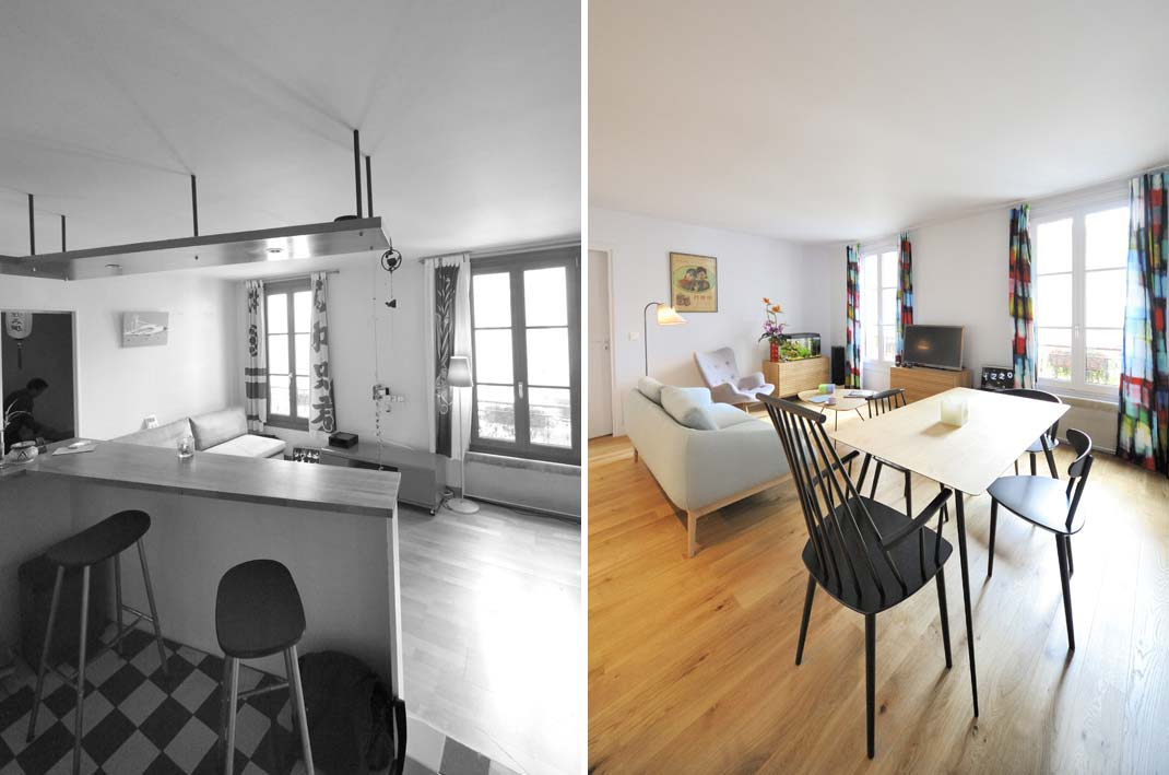 Avant apr s r organisation d 39 un appartement 2 pi ces de 45m2 - Relooking appartement avant apres ...