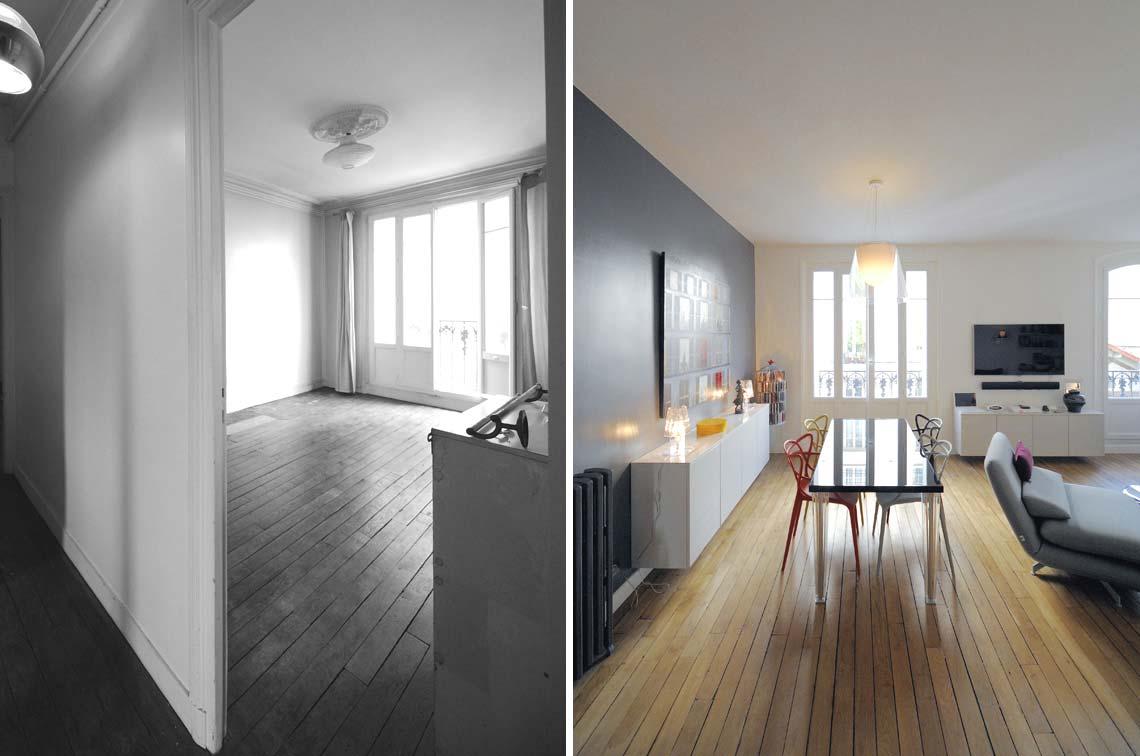 Avant apr s transformation d 39 un appartement de 65m2 du - Architecte interieur paris petite surface ...