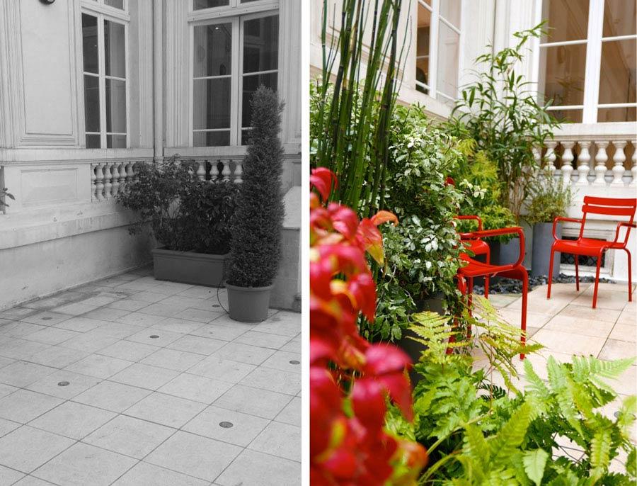 Aménagement de la cour d'un hôtel particulier par un jardinier paysagiste