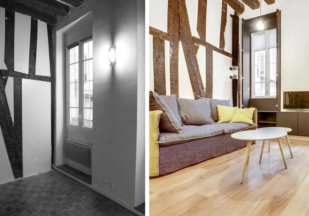 Photos avant - après : rénovation du salon d'un appartement parisien ancien