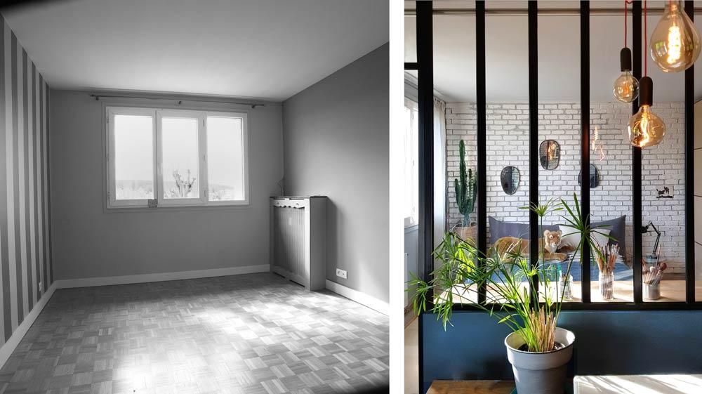 Installation de cloisons d'atelier phoniques dans le cadre de la rénovation de cet appartement