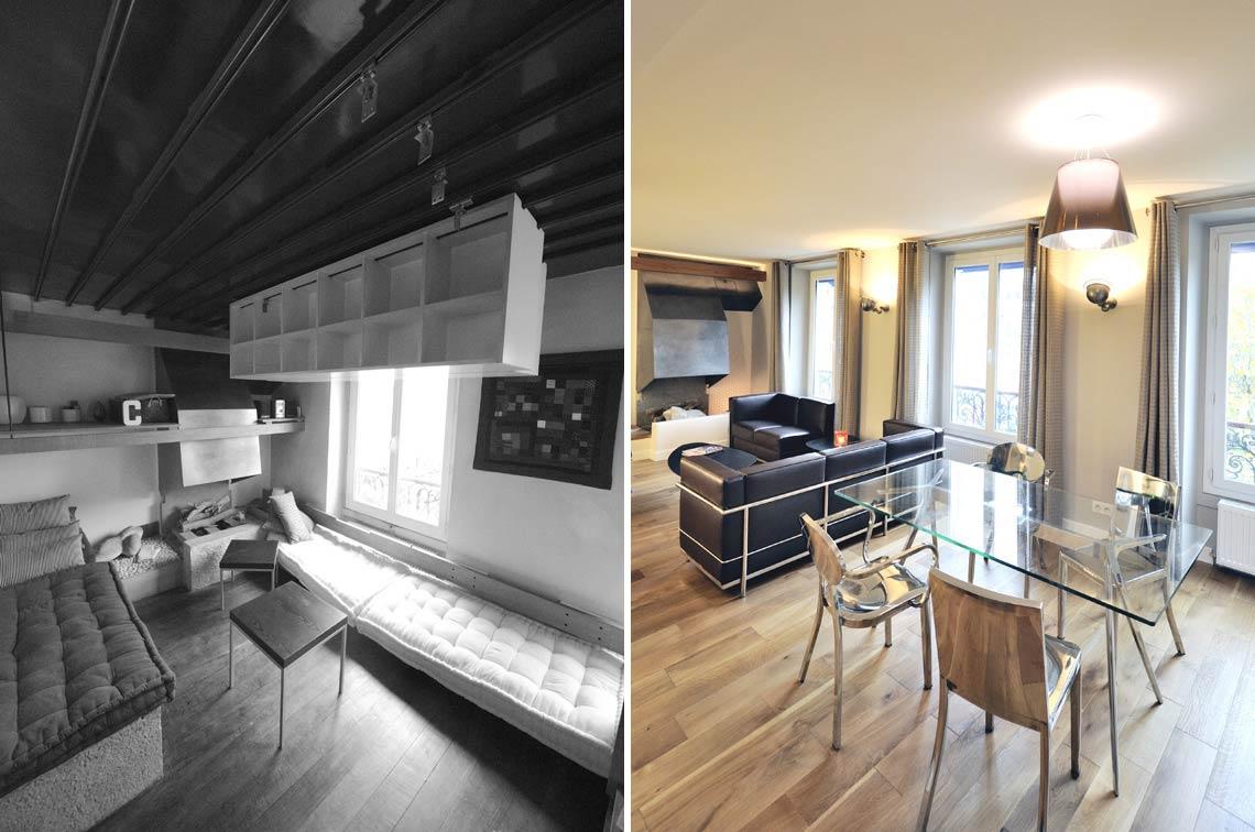 Avant - Après : Rénovation d\'un appartement atypique 3 pièces 65m2