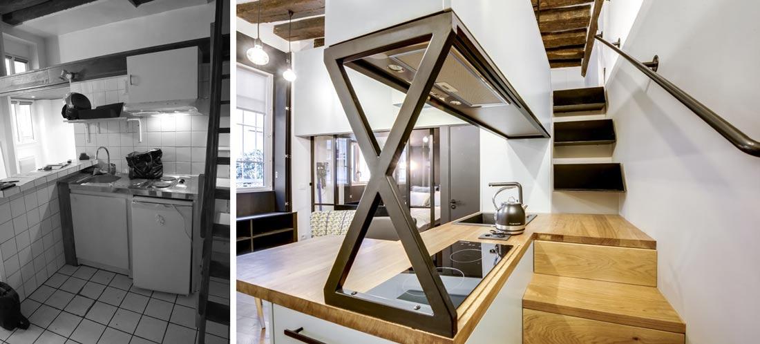 Escalier et cuisine intégrée dans l'appartement 2/3 pièces rénovées