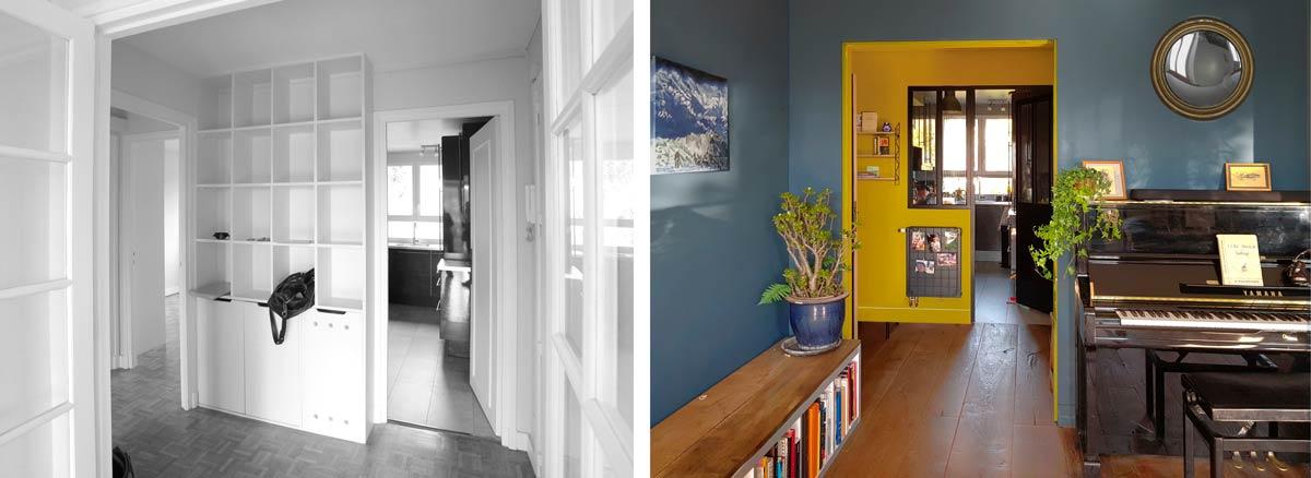Restructuration en profondeur de l'appartement en photo avant-après