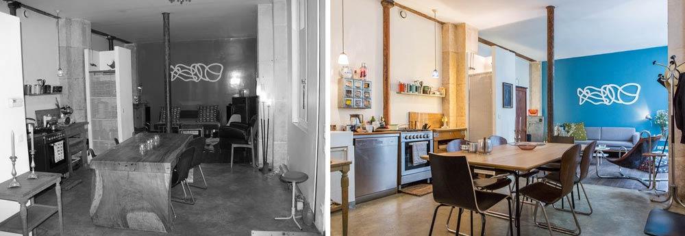 Relooking du salon d'un loft parisien