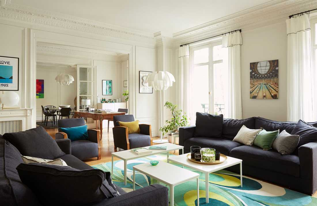 Rénovation du salon d'un appartement haussmannien à Lyon